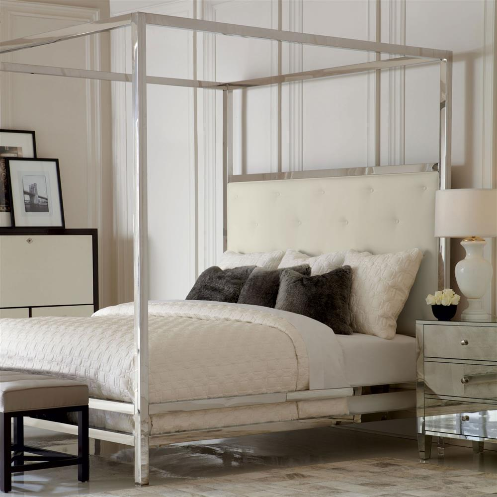 polly modern steel white leather four poster bed queen. Black Bedroom Furniture Sets. Home Design Ideas