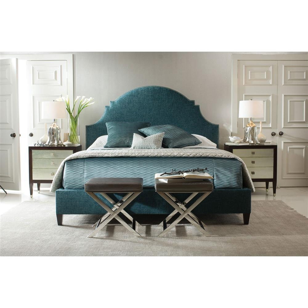 chambray global bazaar blue moon upholstered queen bed kathy kuo home