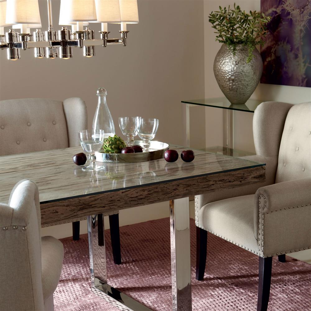 Merveilleux Travers Lodge Stainless Steel Rustic Wood Glass Top Dining Table   84W |  Kathy Kuo Home
