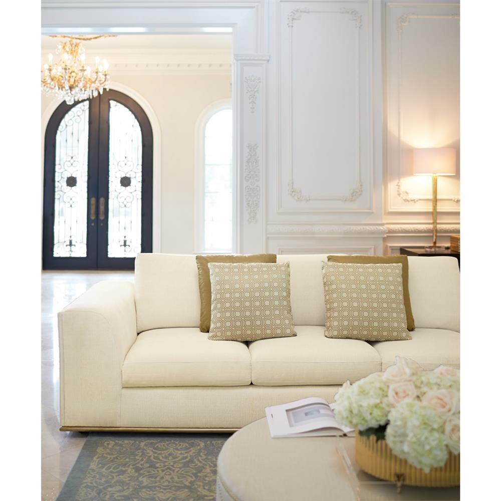 Luna Modern Classic Matte Gold Ivory Sofa | Kathy Kuo Home