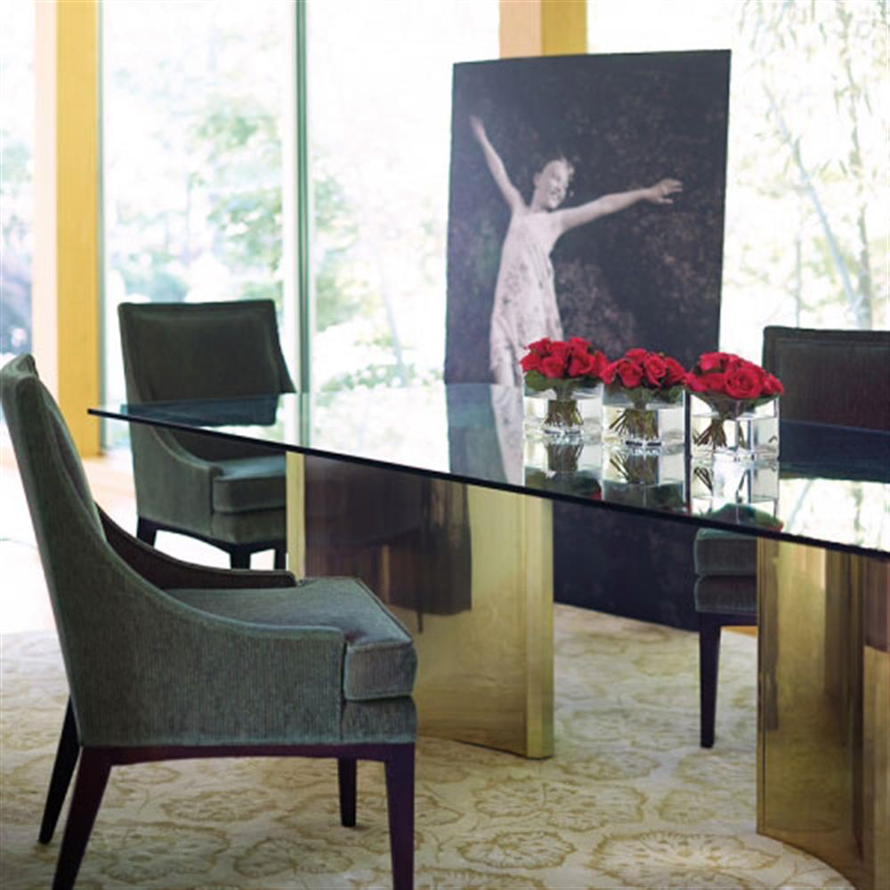 Ellen Modern Sleek Gold Double Pedestal Glass Dining Table | Kathy Kuo Home