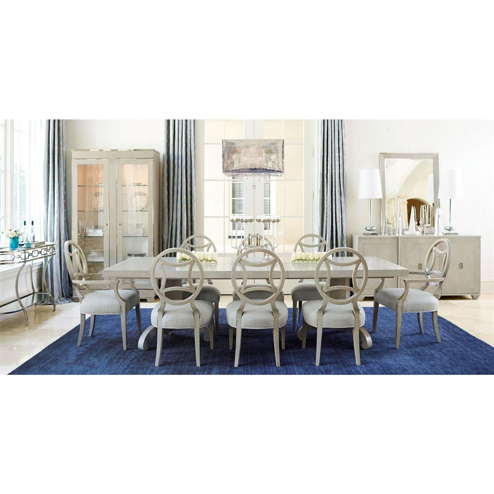 Gretta hollywood regency adjustable steel inlay dining table for Regency dining room