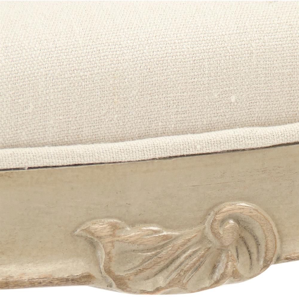 Lacie French Country Beige Curved Scroll Vanity Stool