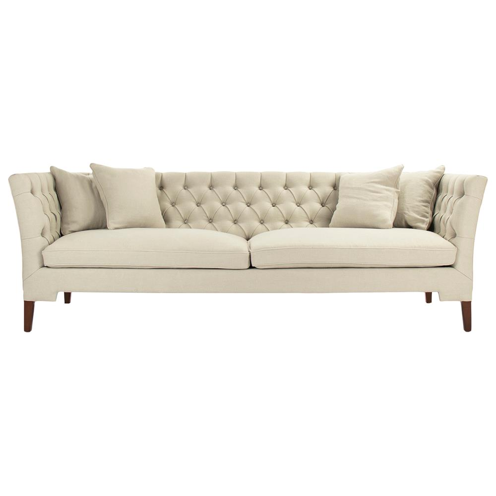 Eon modern classic angular beige tufted sofa kathy kuo home for Modern love seats