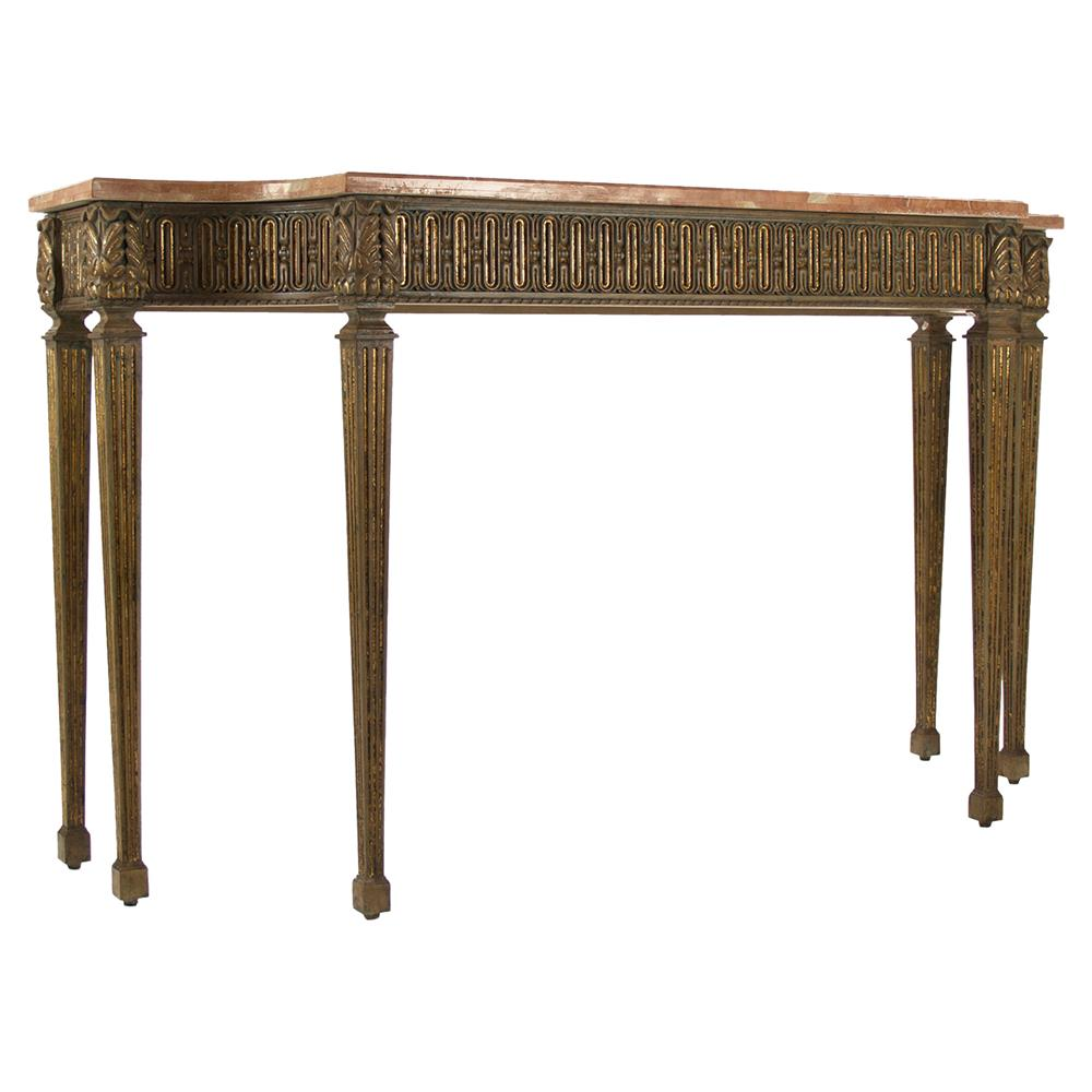 Stone Console Table: Adora French Ornate Wood Stone Console Table
