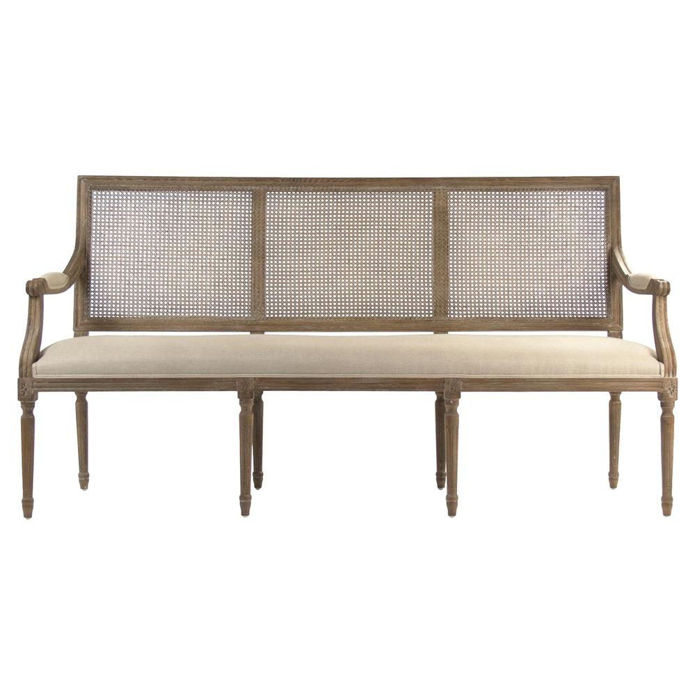 Lester French Country Beige Linen Wood Dining Bench