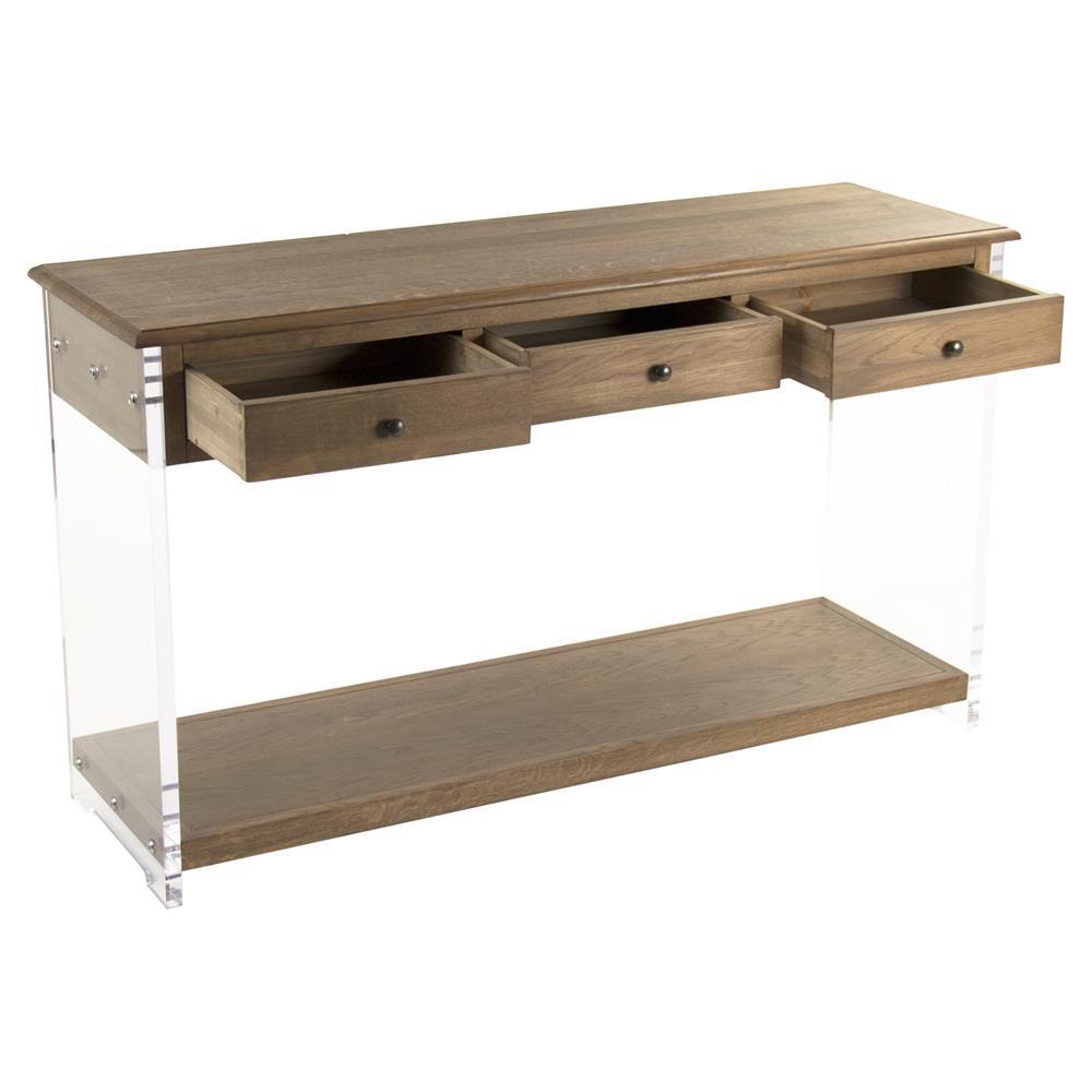 Canaan Modern Classic Oak Acrylic Console Table Kathy