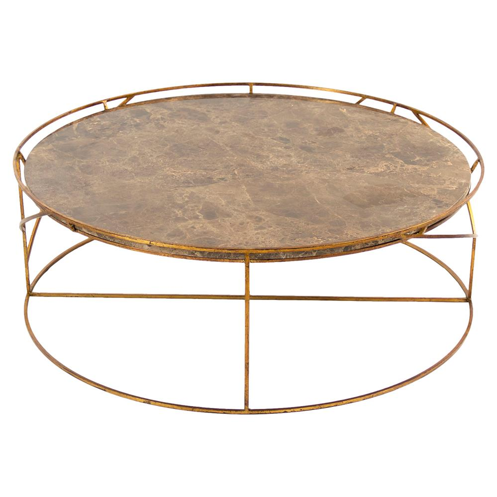 Gold Gilded Coffee Table: Cicely Global Inset Stone Rustic Gold Coffee Table