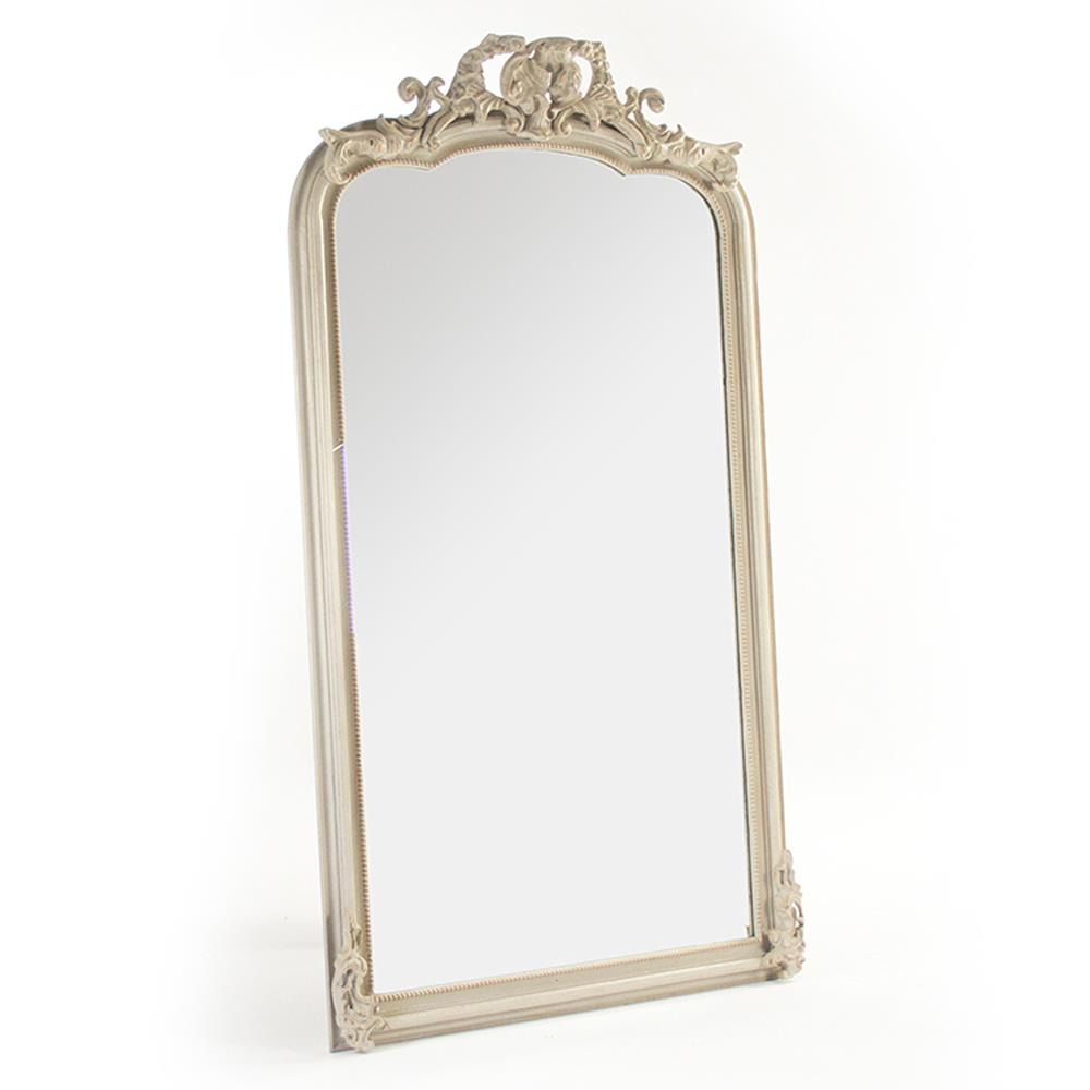 Celine french country ornate antique ivory floor mirror for Floor mirror