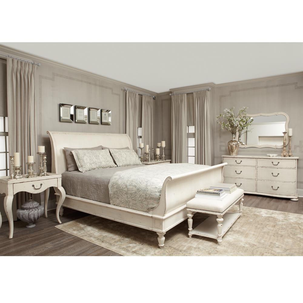 Bedroom Furniture: Reine French Country Antique White Queen Sleigh Bed