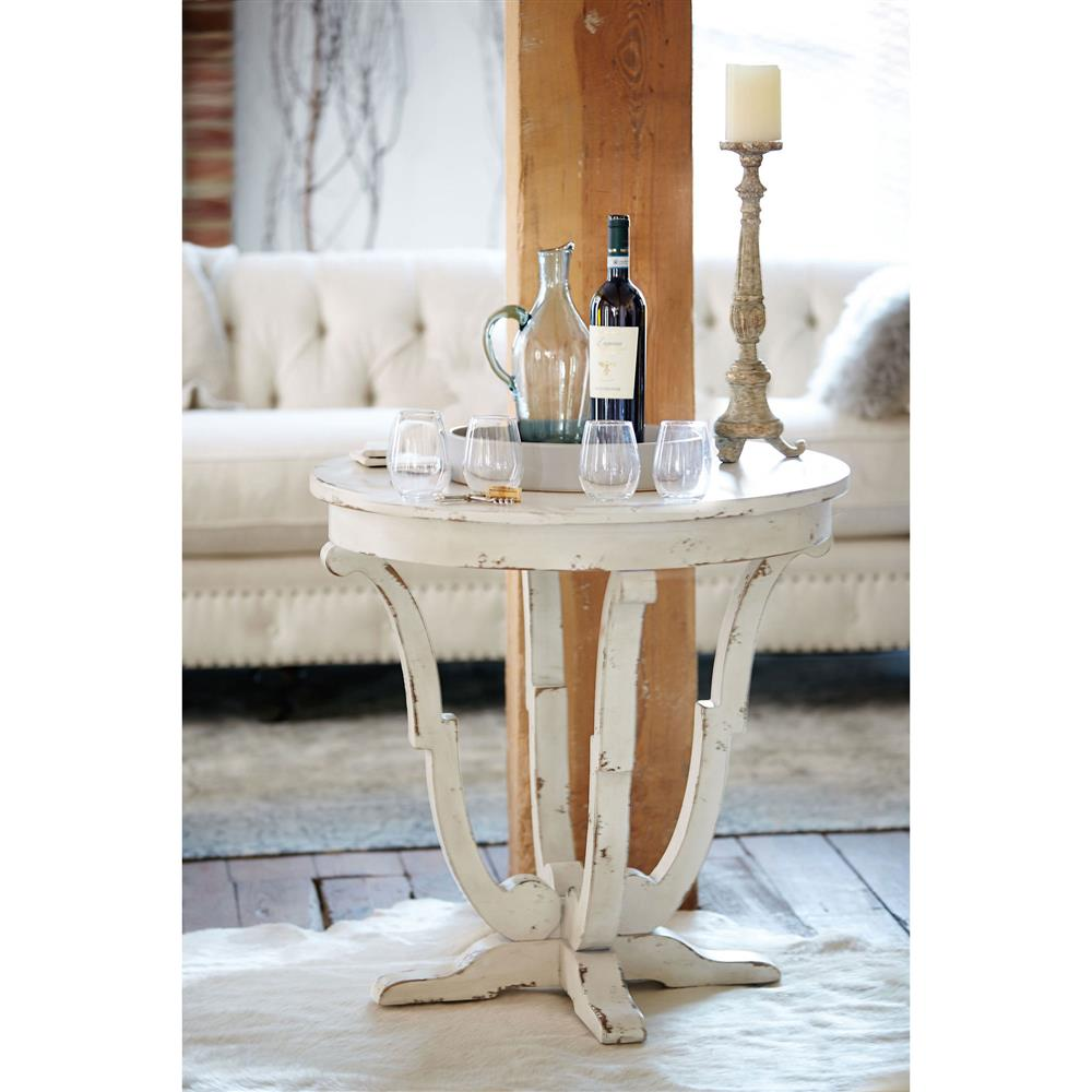 reine french country antique white round end table kathy kuo home. Black Bedroom Furniture Sets. Home Design Ideas