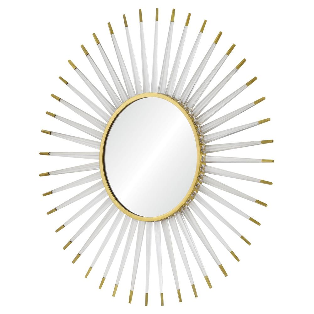 Livvie Hollywood Regency Acrylic Gold Sunburst Mirror
