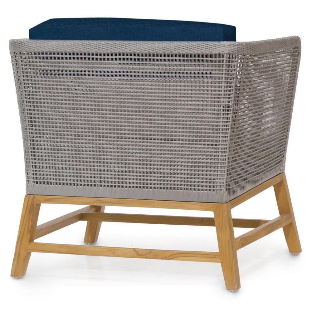 Palecek Avila Modern Grey Rope Woven Teak Outdoor Lounge Chair - Navy