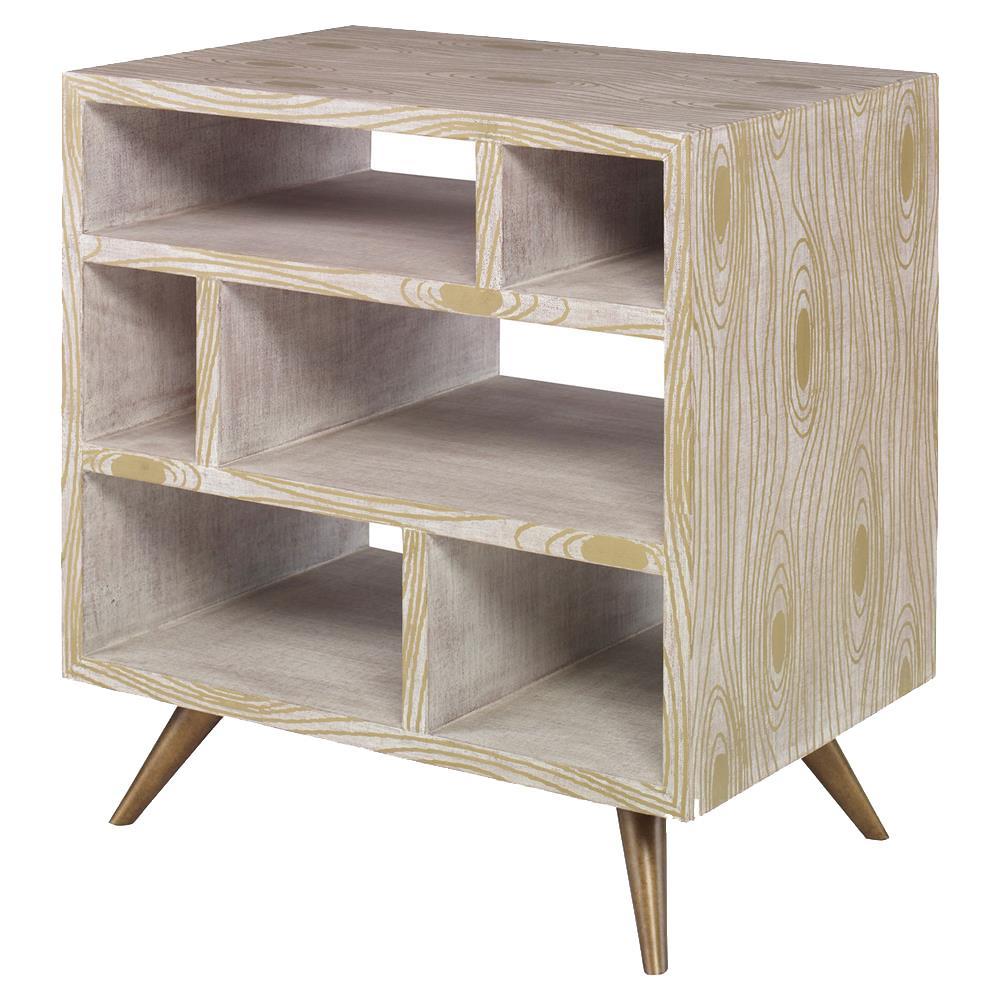 Linda modern grey gold wood grain bedside table kathy kuo home - Modern bedside table ...