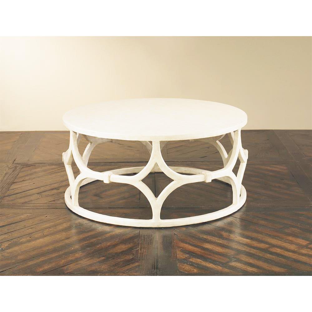 Mara Modern Classic White Trellis Round Coffee Table