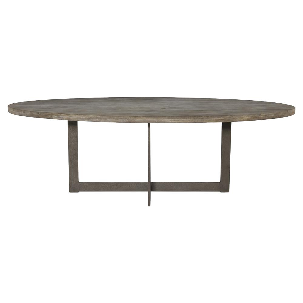 Ronan Industrial Rustic Teak Oval Dining Table 8 foot  : product138171 from www.kathykuohome.com size 1000 x 1000 jpeg 31kB