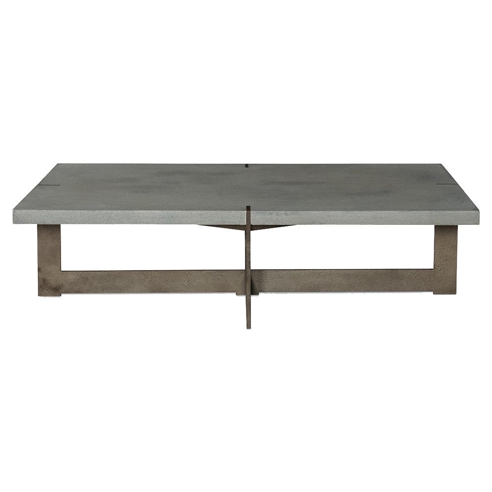 Jullen Industrial Loft Grey Stone Rustic Steel Outdoor Coffee Table Kathy Kuo Home