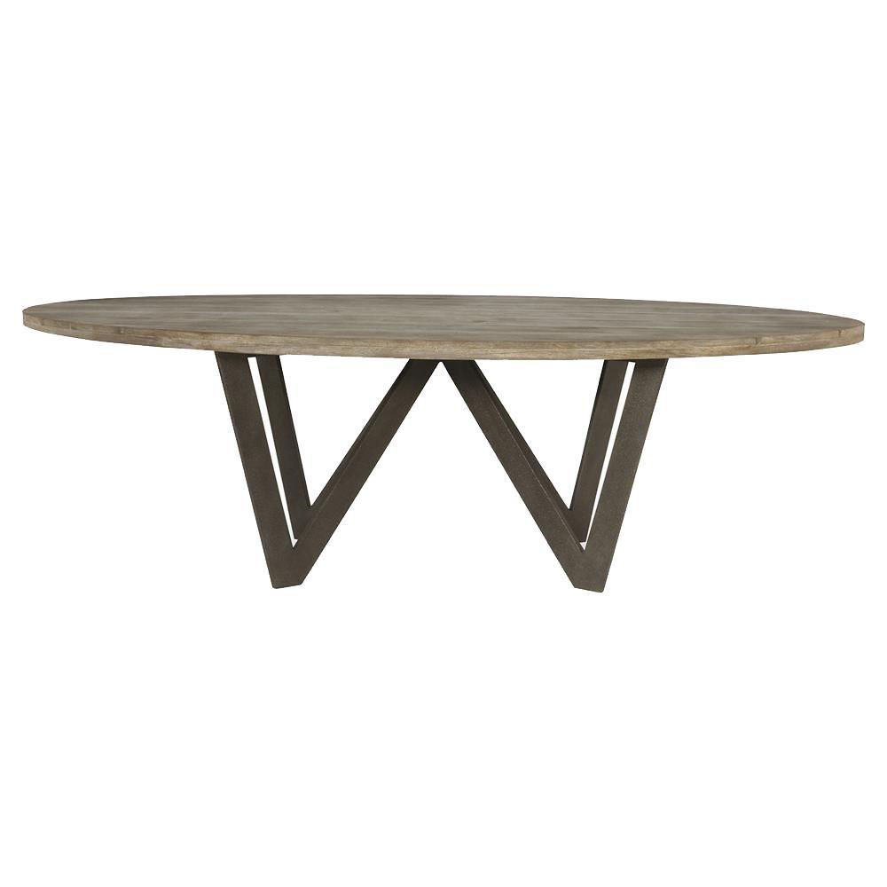 Mr Brown Spider Industrial Rustic Teak Steel Outdoor Dining Table - 10 foot outdoor dining table