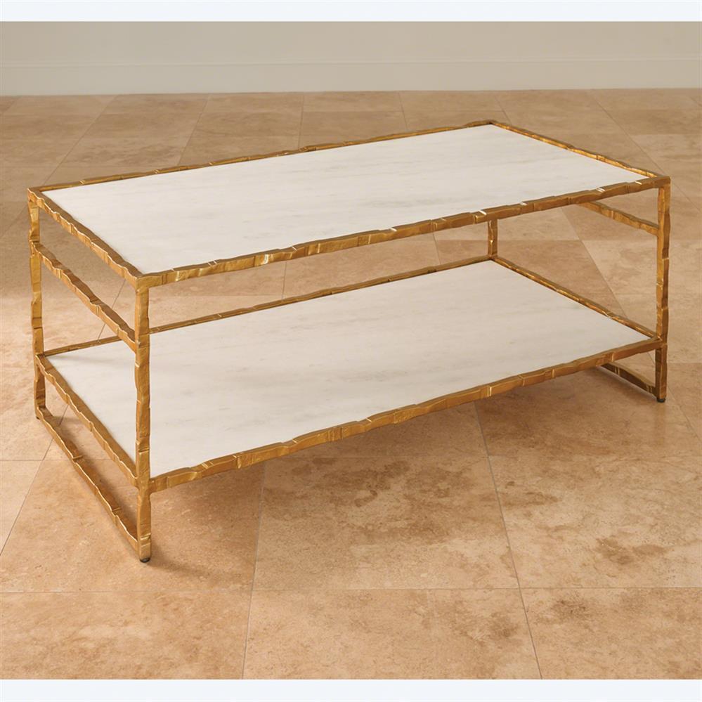 Tifelt Global Bazaar Hand Carved Iron Gold Finish Coffee Table