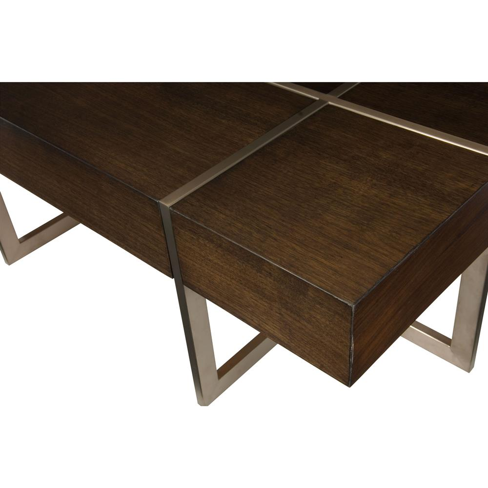 Elsdora Modern Regency Bronze Cut Wood Coffee Table