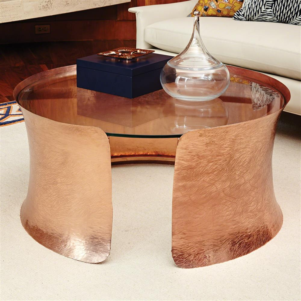 Bajaj global bazaar copper plated cuff glass top coffee table