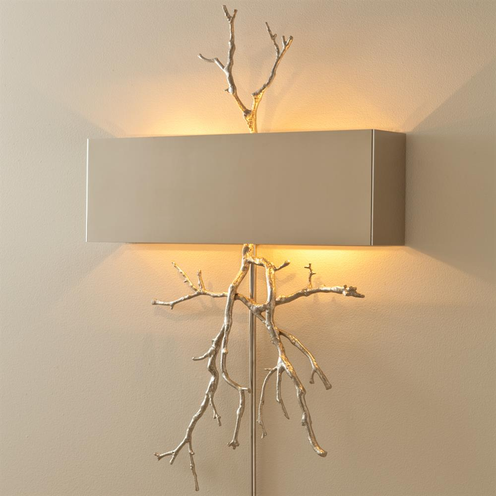 Bijou tree branch hollywood regency nickel hardwired wall sconce view full size amipublicfo Image collections