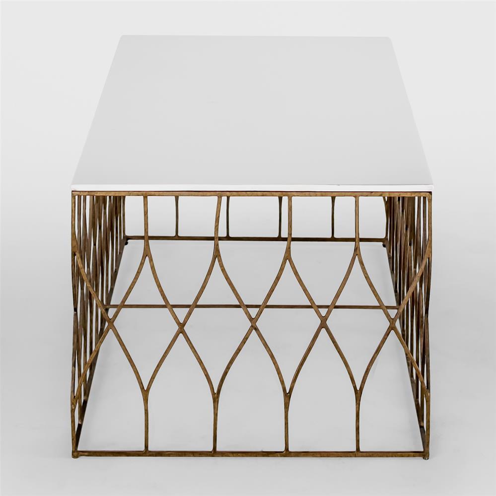 Ada Modern Deco Bone Brass Coffee Table