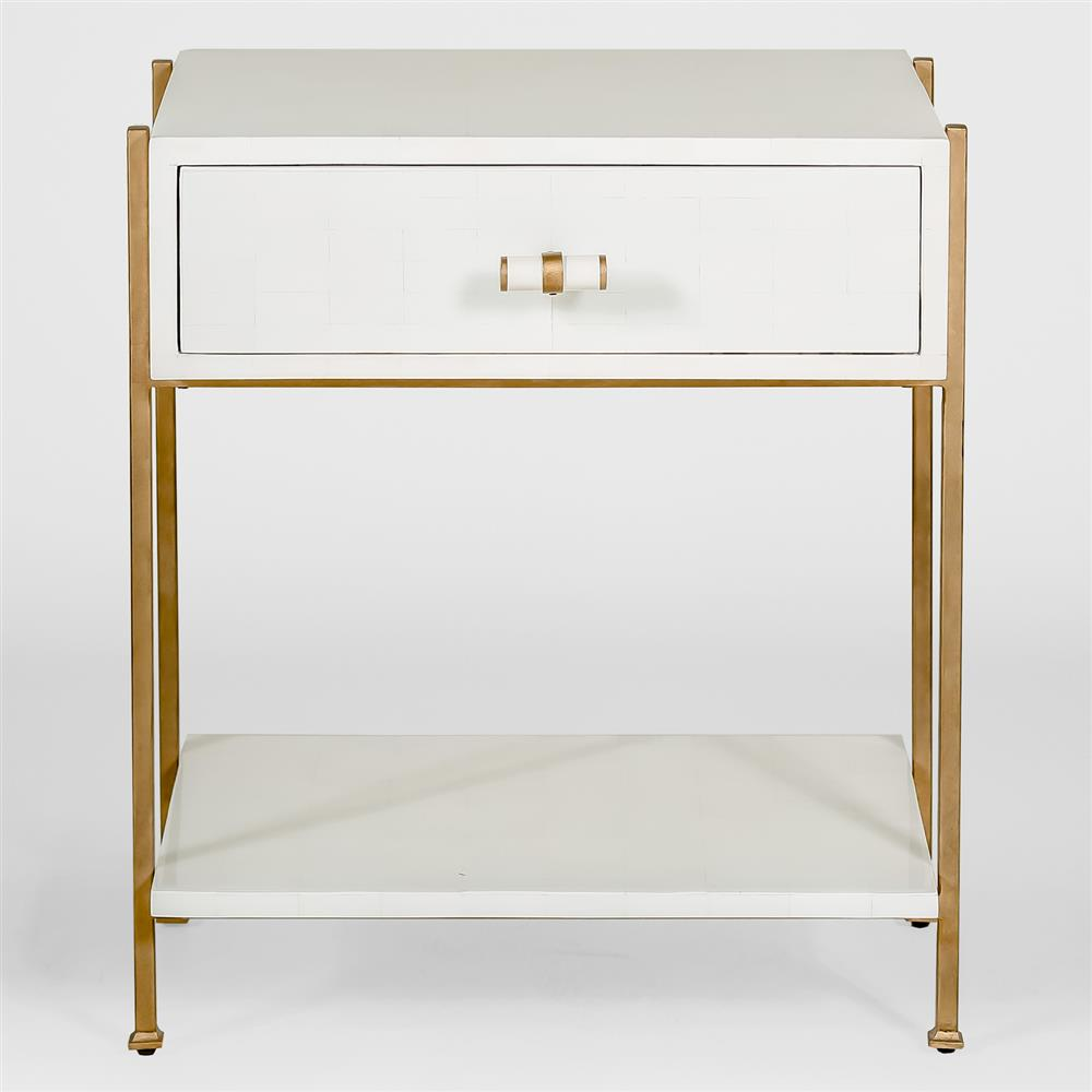 brosnan modern classic bone gold end table  kathy kuo home - view full size