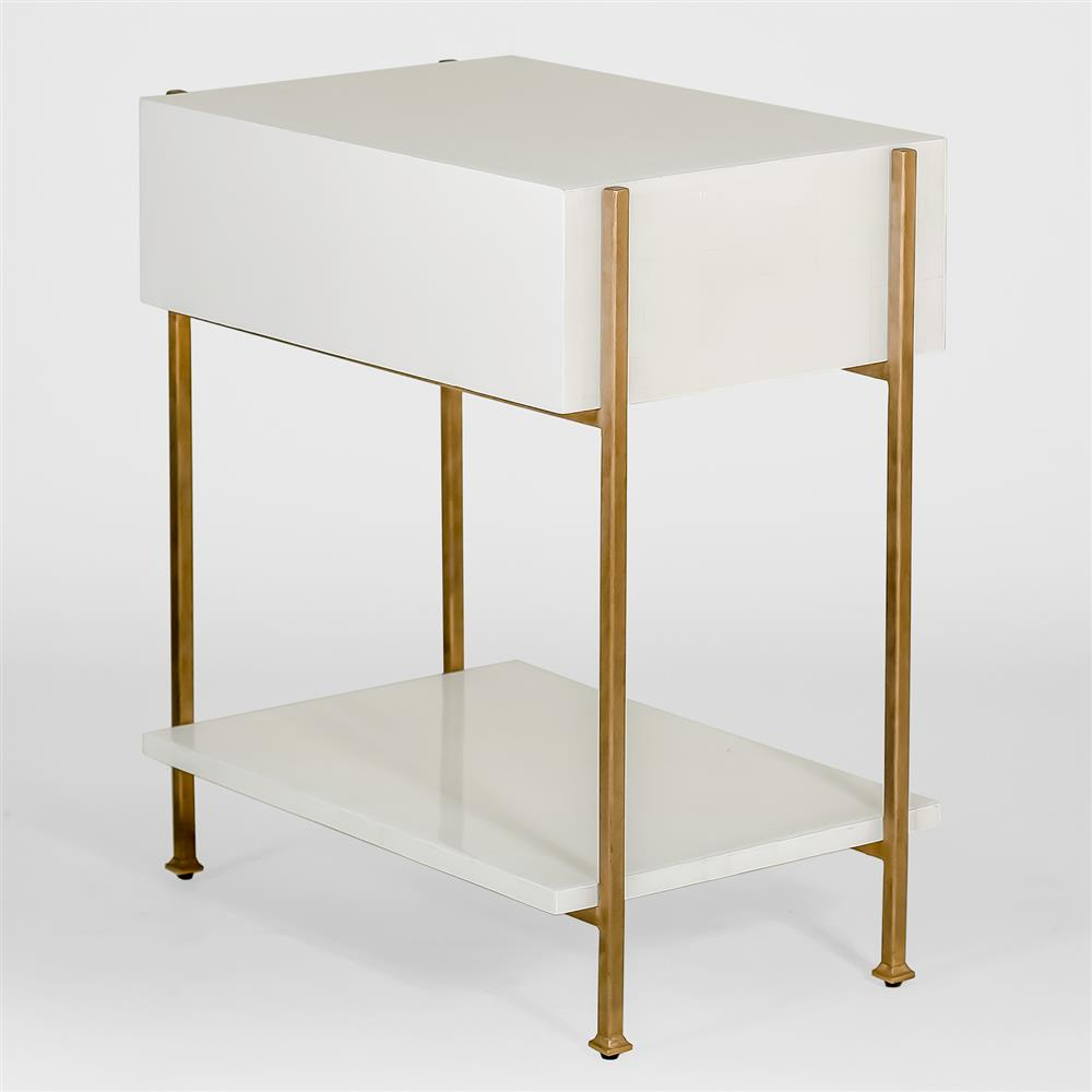 Brosnan Modern Classic Bone Gold End Table Kathy Kuo Home