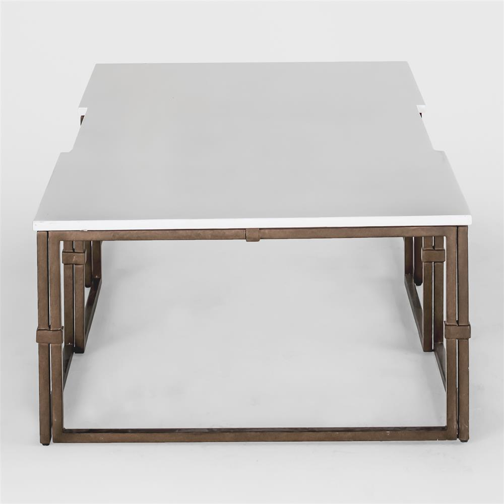 Annabel Modern Antique Brass White Coffee Table Kathy Kuo Home