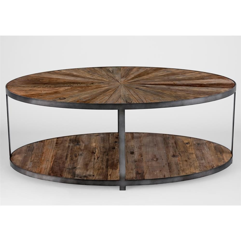 Howie rustic loft barn wood burst iron coffee table kathy kuo home Rustic wood and metal coffee table
