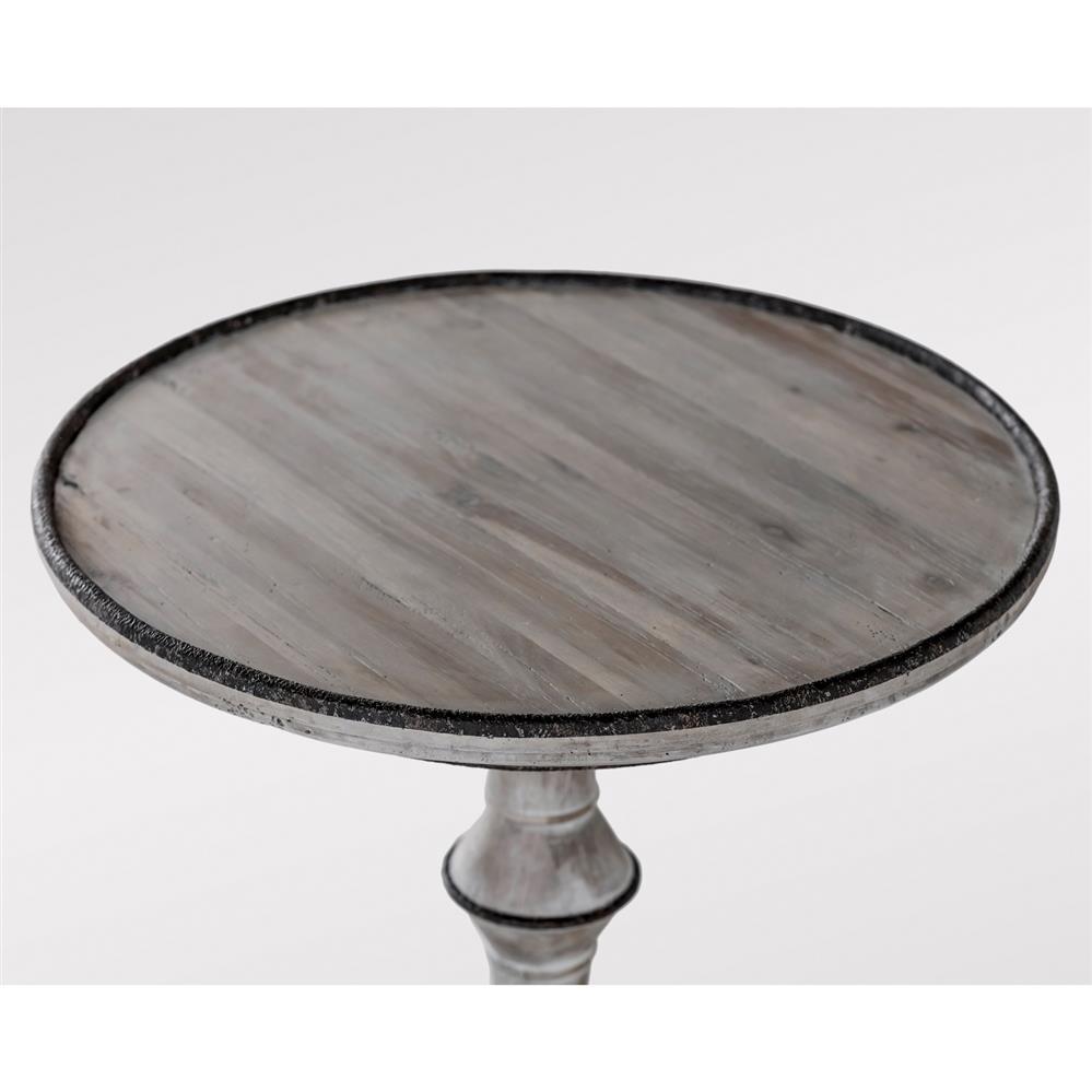 Dwayne Rustic Lodge White Wash Black Metal End Table
