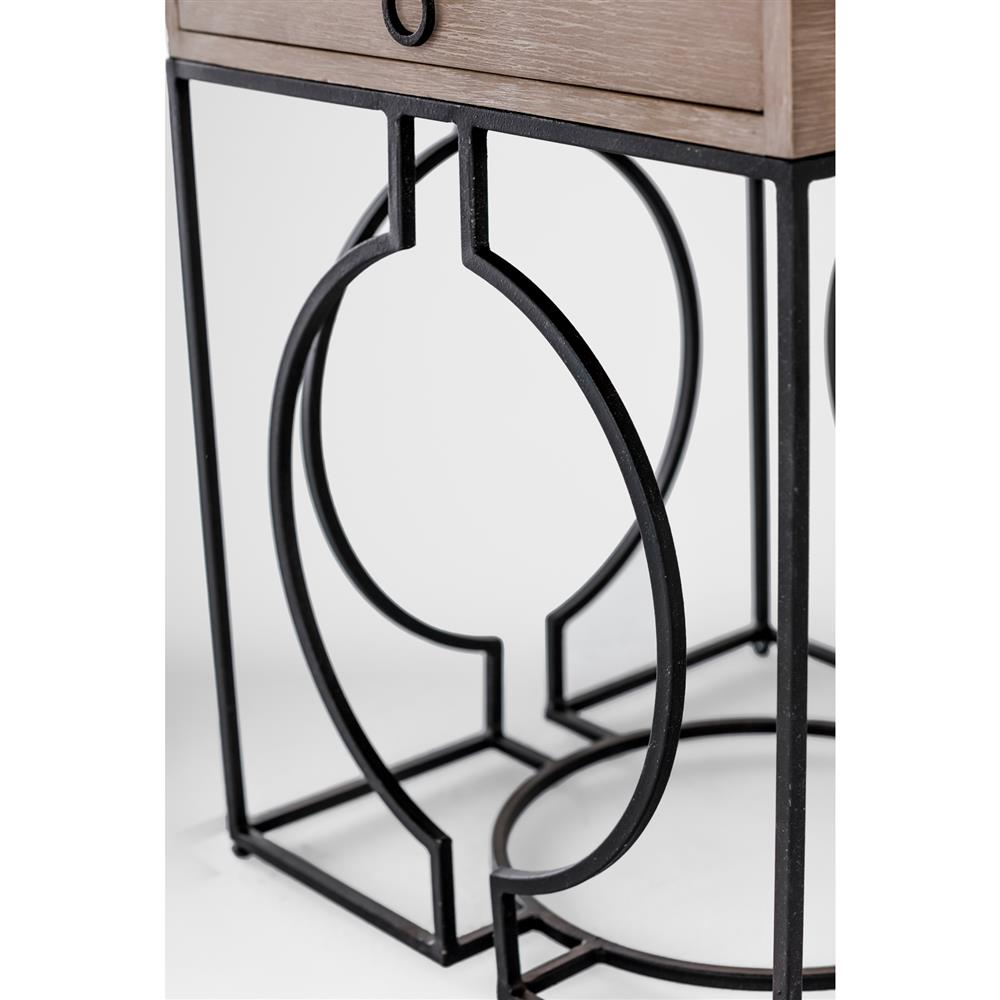 Industrial loft grey wood black metal end table kathy kuo home