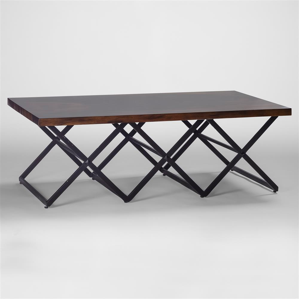 Rollins Industrial Loft Bronze Iron Coffee Table: Irvin Industrial Loft Iron X Base Wood Coffee Table