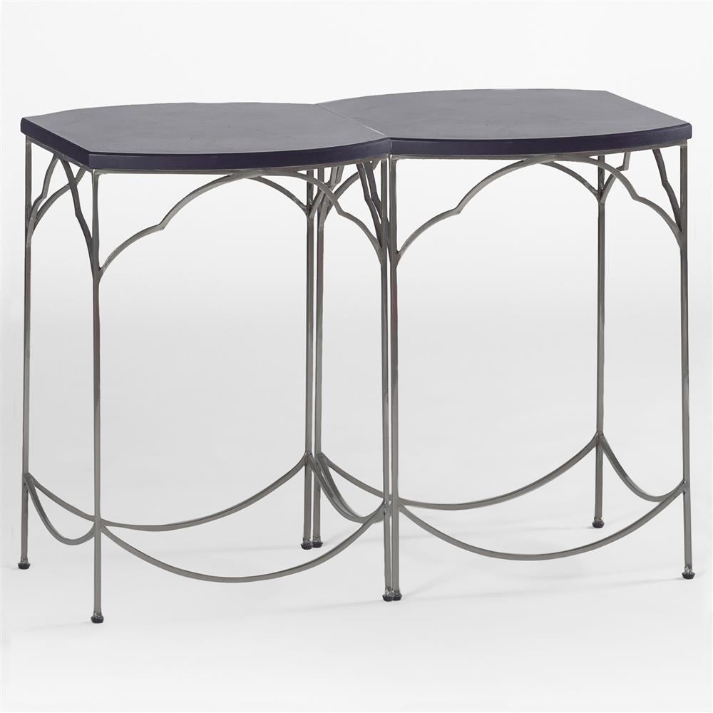 Simple modern classic ebony nickel end table kathy kuo home for Simple end table