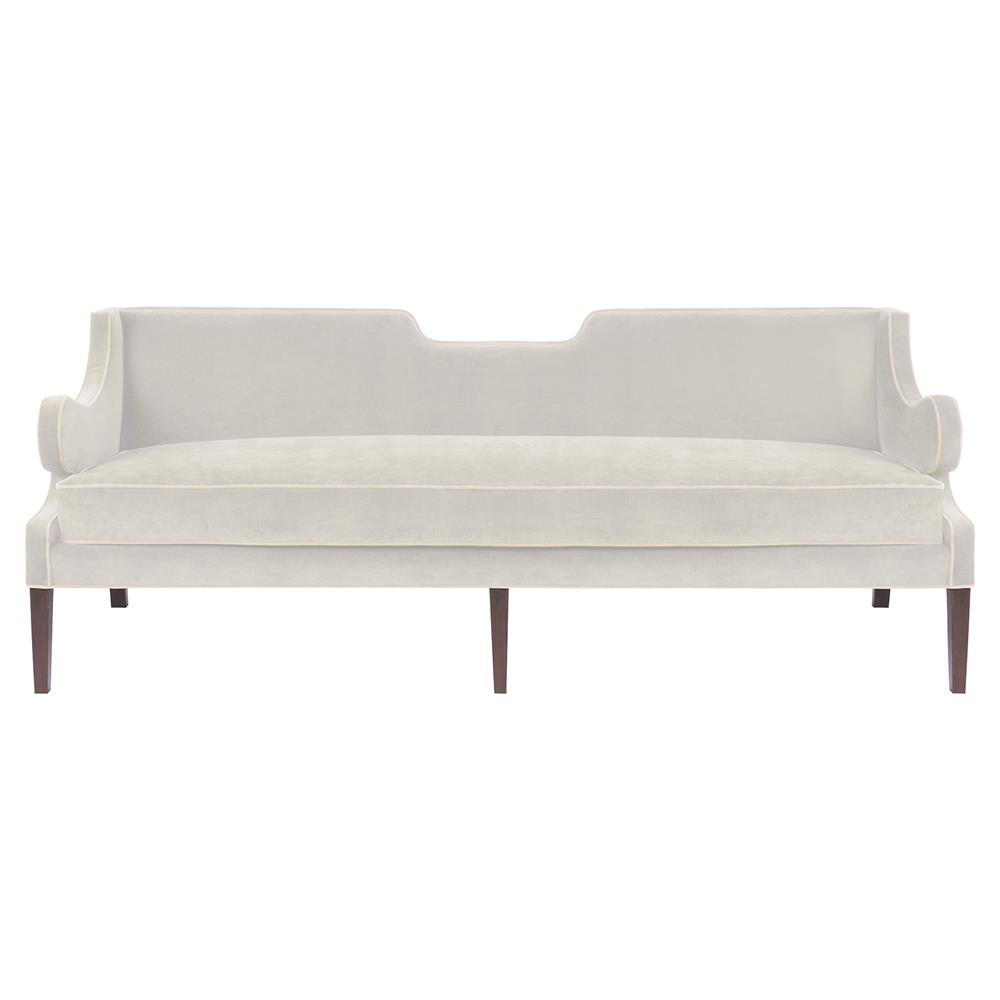Ashbury modern classic notch sofa snow white velvet for Sofa modern classic