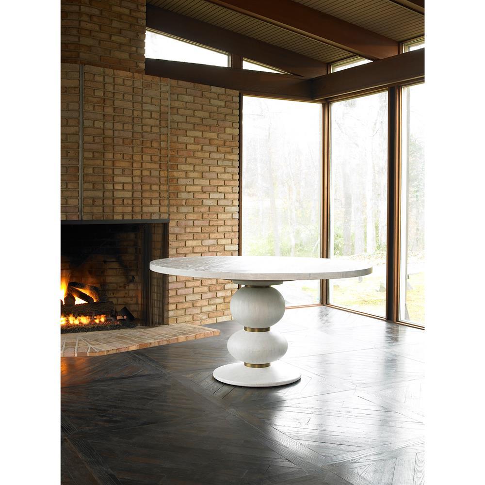 Bandito Modern White Oak Copper Ring Dining Table