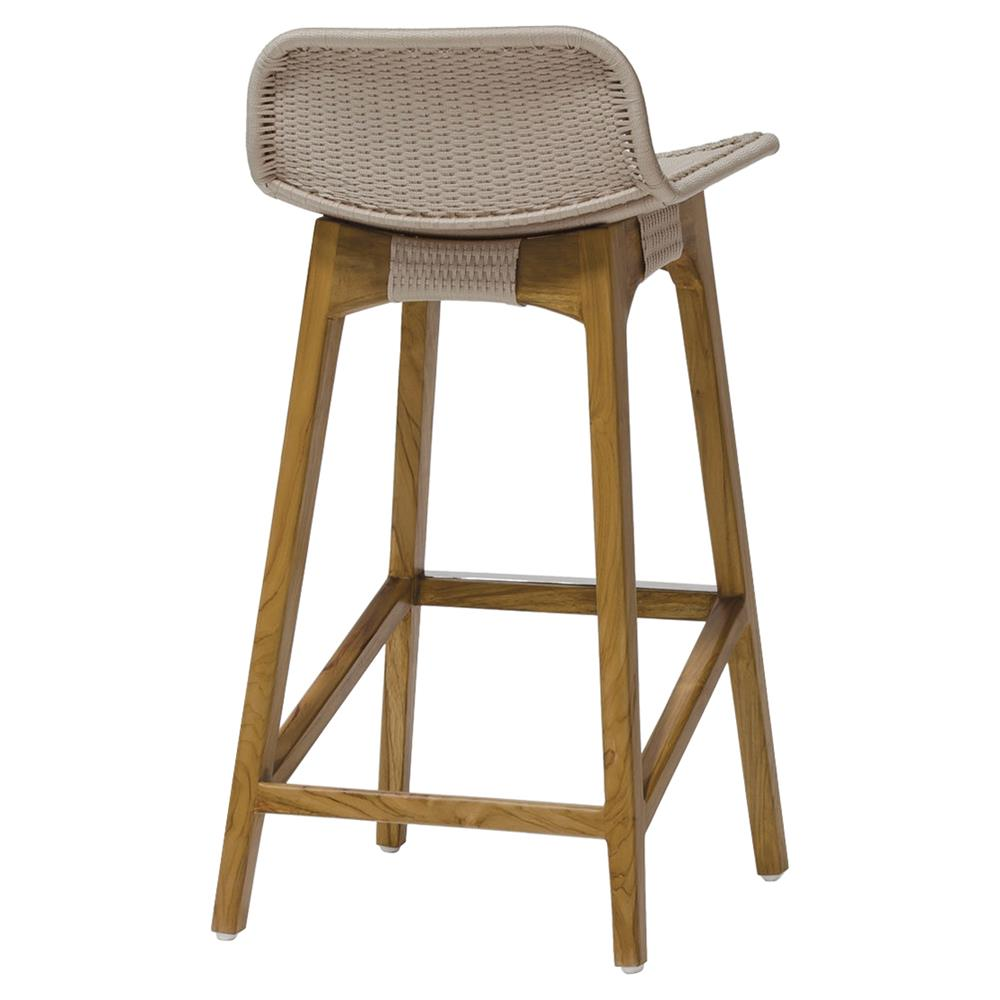 Sol Coastal Beach Beige Rope Teak Counter Stool