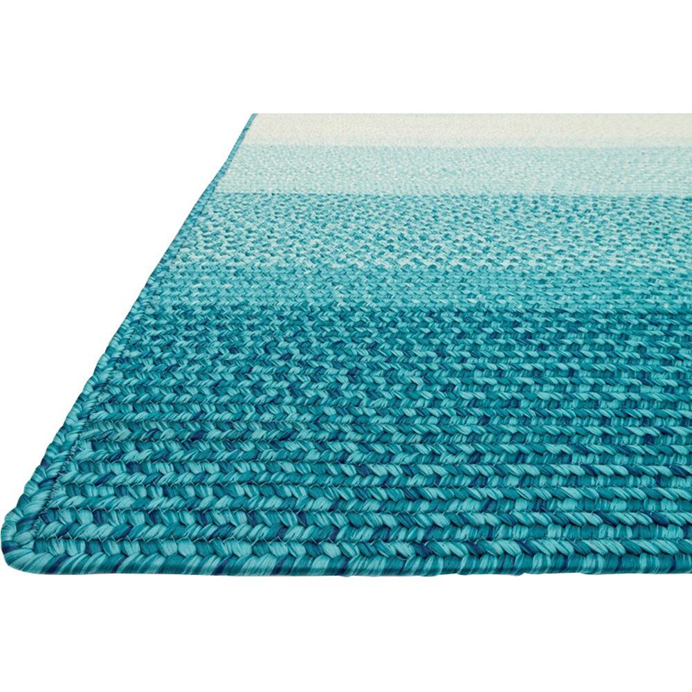 Zadie Coastal Beach Stripe Blue Aqua Outdoor Rug -3'6x5'6