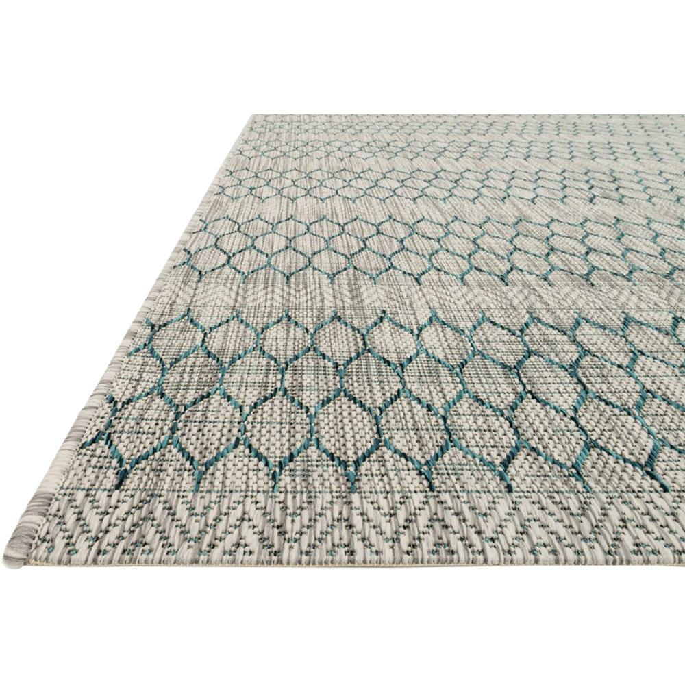 Tulum Global Teal Grey Pattern Outdoor Rug 5 3x7 7