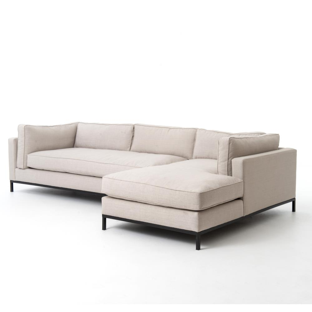 Sectional Couch Light Gray: Diorama Modern Black Steel Light Grey Right Arm Sectional Sofa