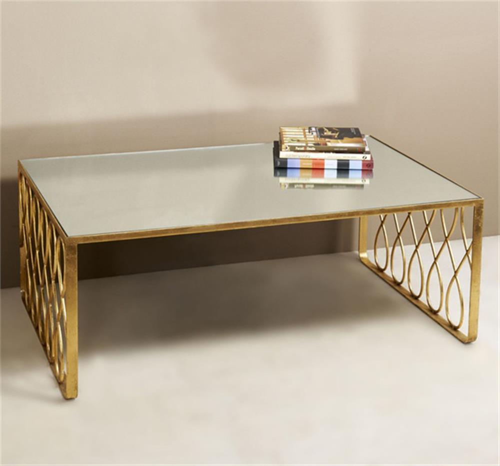 susan hollywood regency gold leaf mirror top coffee table