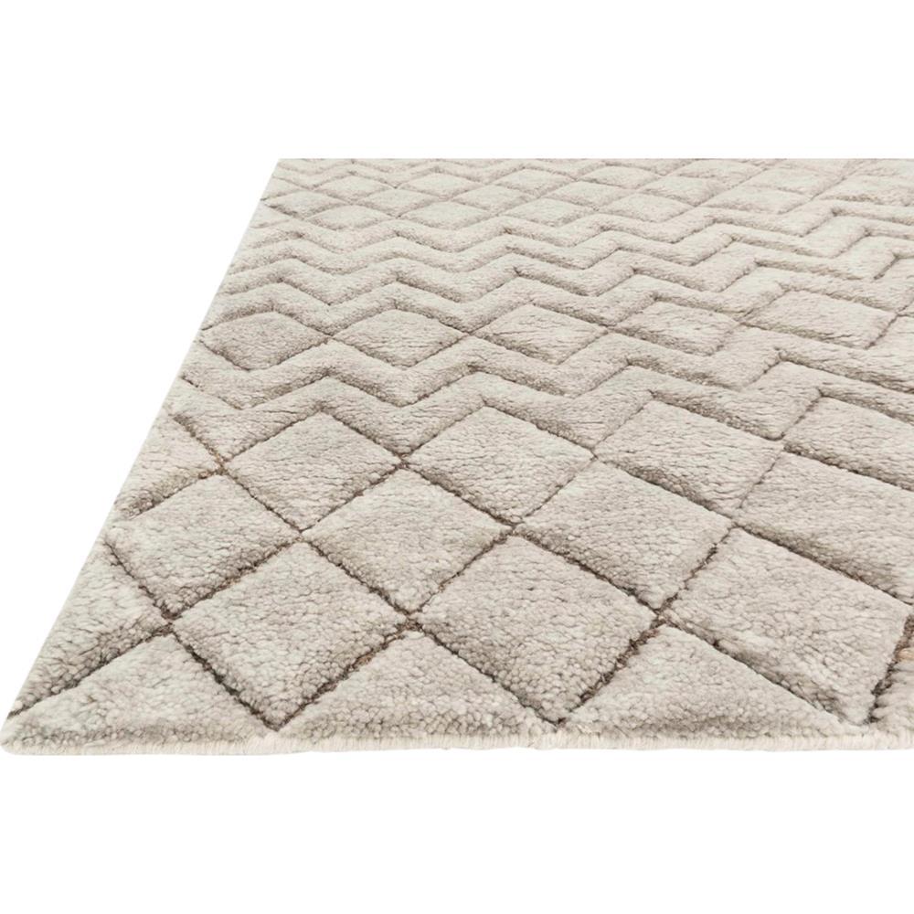 Nisha Global Grey Beige Diamond Tuft Wool Jute Rug 4x6