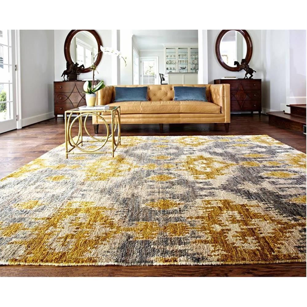 Marigold Global Bazaar Golden Grey Tribal Jute Rug