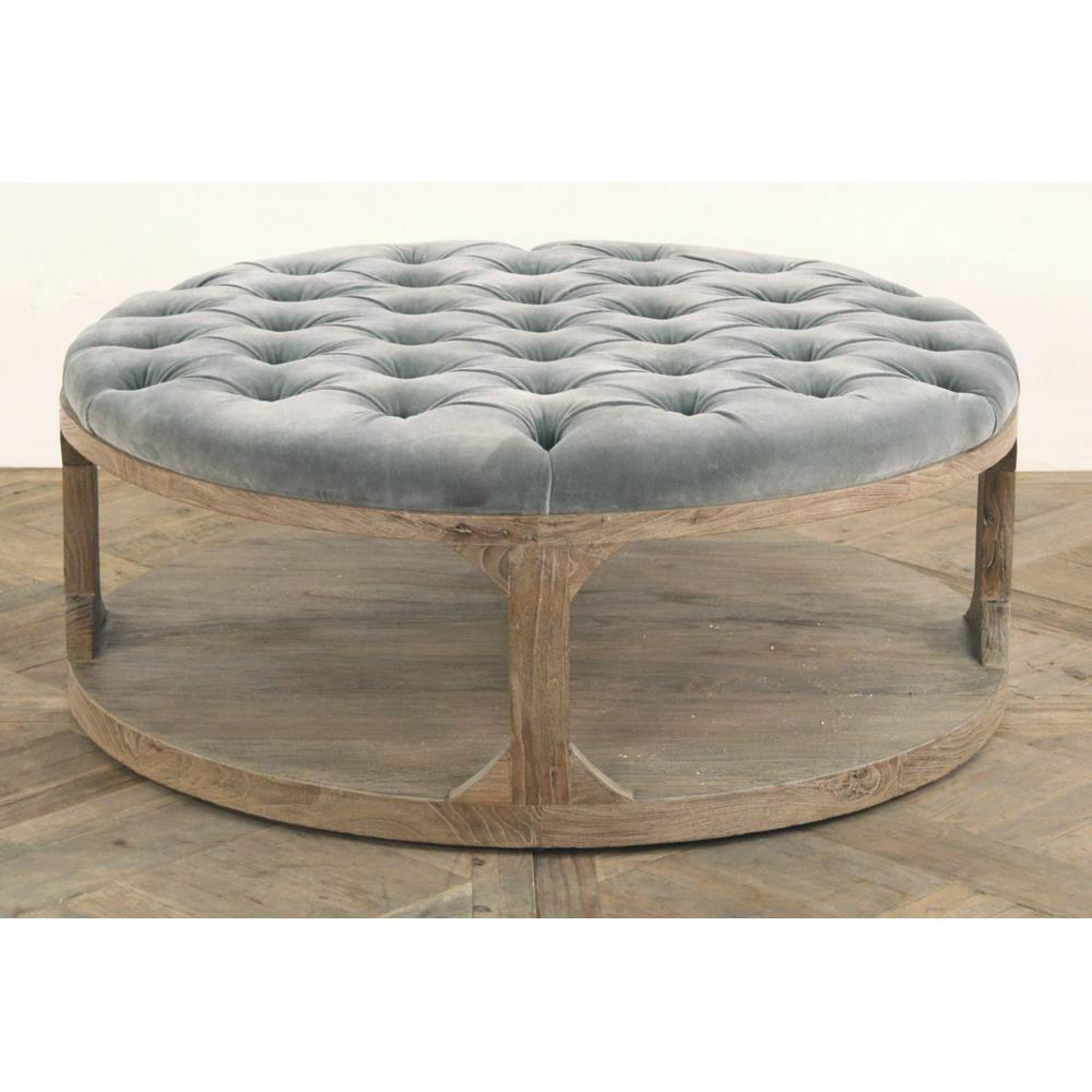 Grey Tufted Wood Coffee Table Kathy Kuo Home View Full Size