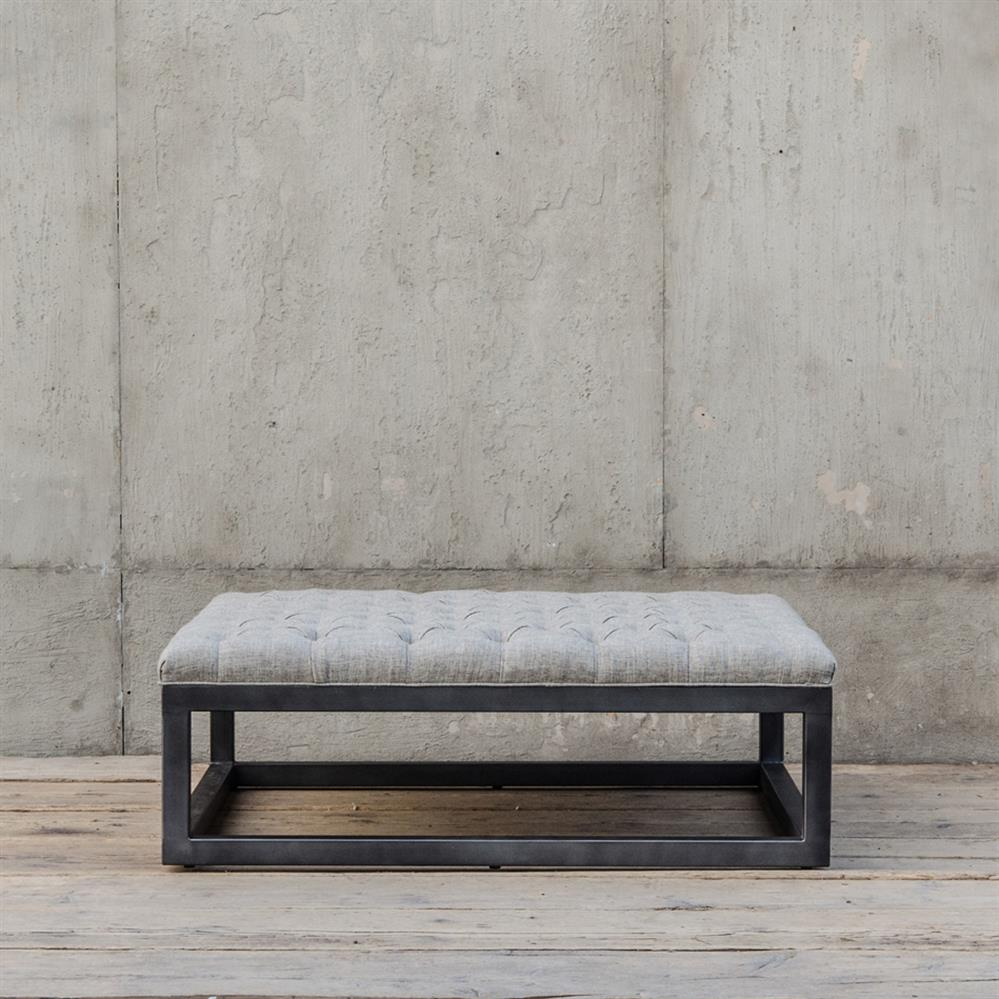 French Connection Gunmetal Coffee Table: Stefano French Industrial Square Tufted Gunmetal Coffee