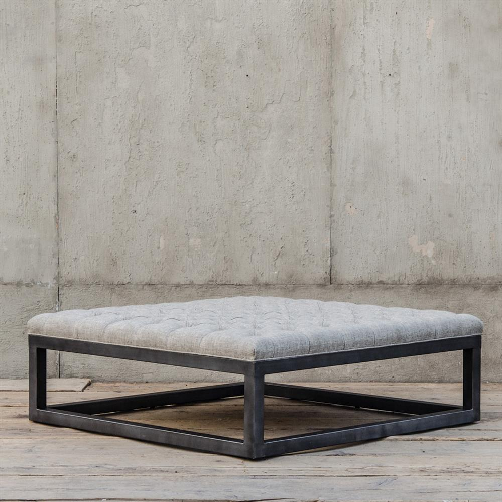 French Industrial Coffee Table: Stefano French Industrial Square Tufted Gunmetal Coffee