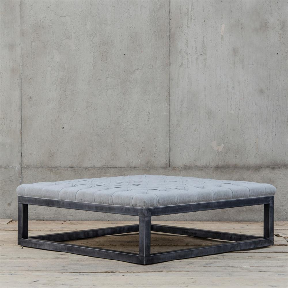 frederick french industrial square tufted coffee table ottoman