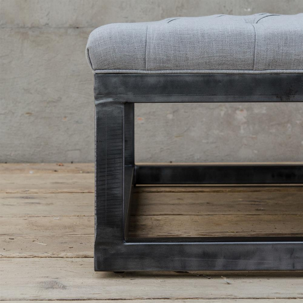 French Industrial Coffee Table: Frederick French Industrial Square Tufted Coffee Table