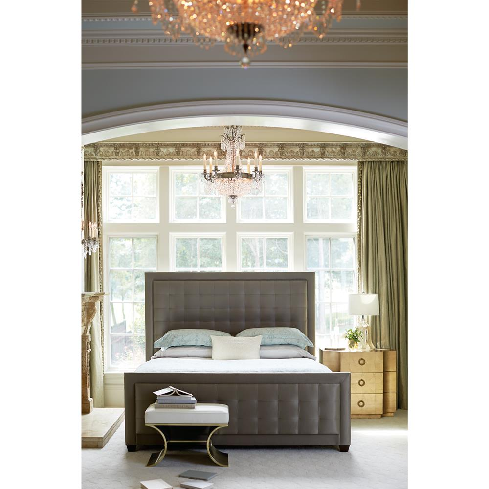 Crawford Regency Modern Grey Tufted Panel Bed King